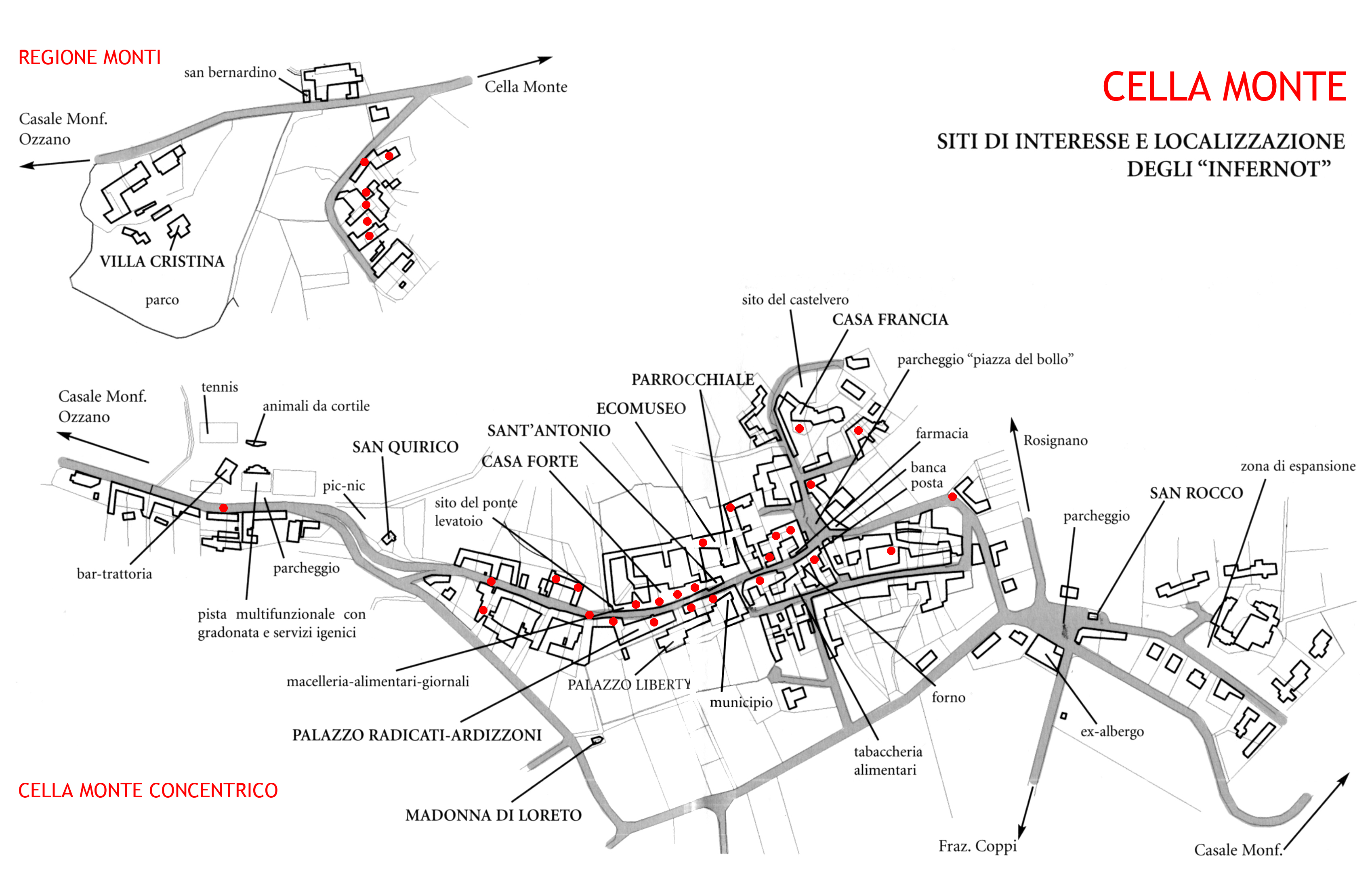 Mappa degli Infernot presenti a Cella Monte